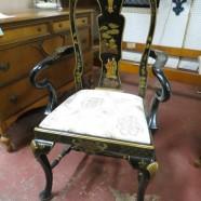 SALE! Vintage antique Chinoiseries ebonized occasional chair c. 1950 – $200