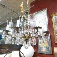 Vintage antique brass and crystal 8 arm chandelier c. 1940 – $445