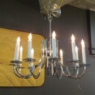 Vintage mid century modern chrome 12 arm chandelier c. 1970 – $565