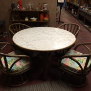 Vintage mid century modern dining/game table & 4 chairs c. 1960 – $300