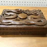 SALE! Vintage antique carved wood dragon box c. 1900 – $100