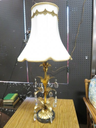 SALE! Vintage antique Italian gilt metal and crystal lamp c. 1930 – $88