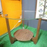 Vintage mid century modern glass top walnut side table c. 1970 – $95