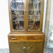 Vintage antique art deco walnut 2 door china cabinet c. 1930 – $195