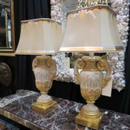 SALE!  Vintage antique pair of architectural urn lamps and shades c. 1960 – $350