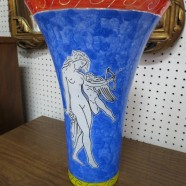 Vintage hand blown glass vase with nudes – $195