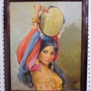 Vintage antique beautiful gypsy girl oil painting c. 1940 – $195