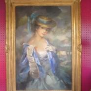 Vintage antique portrait of a lady large oil painting c. 1950 – $495