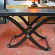 Vintage Maitland-Smith X base bar table/console table – $695