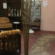 SALE! Vintage mid century modern matte gold metal torchiere floor lamp c. 1960 – $175