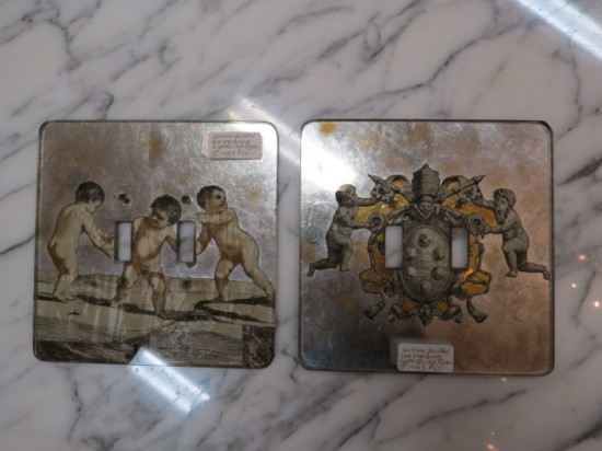 Vintage antique engraved and mirrored cherub light switch covers c. 1940 – $65/ea