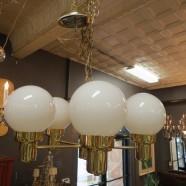 Vintage mid century modern 5 arm brass chandelier with globes c. 1960 – $145