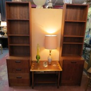 SALE! Vintage mid century modern pair of teak Danish bookcase cabinets c. 1960 – $495/pr