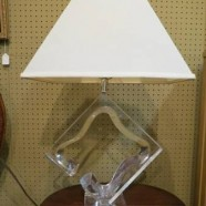 Vintage mid century modern lucite lamp by Van Teal with shade c. 1970 – $425