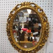 Vintage antique gilt oval mirror c. 1960 – $175