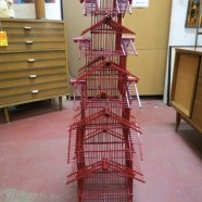 Vintage mid century modern red lacquered 5 tier pagoda birdhouse c. 1950 – $129