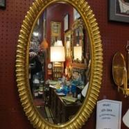 Vintage mid century modern large oval gilt mirror c. 1960 – $245