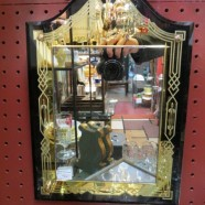 Vintage antique small art deco black and gold mirror c. 1930 – $225