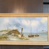 Vintage mid century modern large seascape oil painting c. 1950 – $95