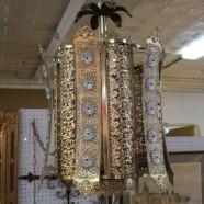 Vintage mid century modern Moroccan style brass swag chandelier light c. 1960 – $150