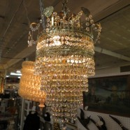 Vintage antique 5 tier crystal and brass chandelier c. 1960 – $250