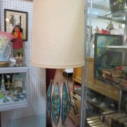 Vintage mid century modern tall lamp with abstract designs c. 1960 – $55
