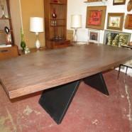 SALE! Vintage mid century modern walnut laminate dining table c. 1970 – $225
