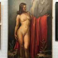 Vintage antique large nude oil painting c. 1940 – $650