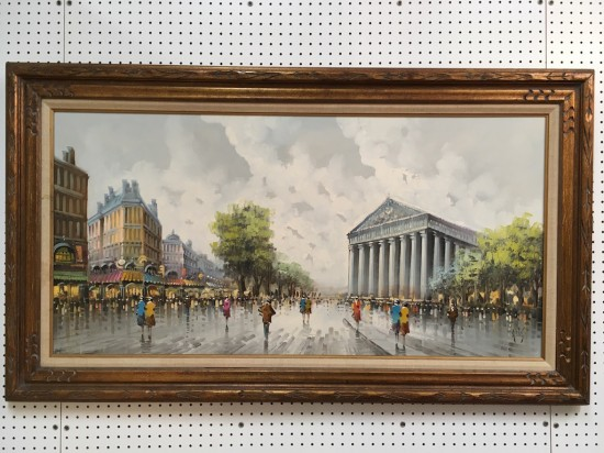 SALE! Vintage antique large Paris street scene oil on canvas c. 1950 – $595