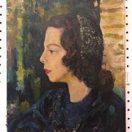 Vintage antique portrait of a lady in a blue dress oil painting on canvas c. 1940 – $495