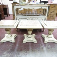 SALE! Vintage antique French style set of 3 marble top tables c. 1950 – $195/set