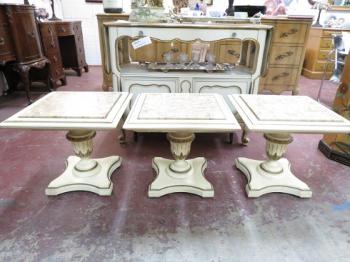 Vintage antique French style set of 3 marble top tables c. 1950 – $295/set