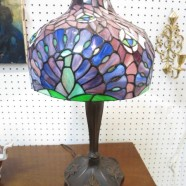 Vintage antique style peacock feather stained glass lamp – $195