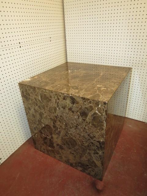 Vintage Mid Century Modern Large Marble Cube Side Table Coffee C