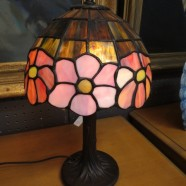 SALE! Vintage antique style stained glass small lamp – $95