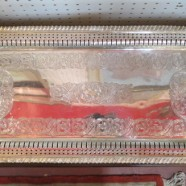 Vintage antique silver plate ornate long tray – $125