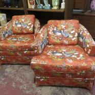 SALE! Vintage mid century modern pair of club chairs c. 1980 – $150/pr