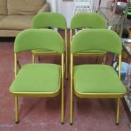 Vintage mid century modern set of 4 lime green folding chairs c. 1970 – $85/set
