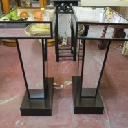 Vintage mid century modern Hollywood Glam pair of mirrored side tables c. 1970 – $175/pr