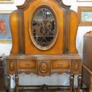 Vintage antique Tudor Revival walnut carved and inlaid china cabinet c. 1920 – $795