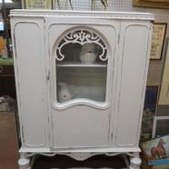 SALE! Vintage antique shabby chic Tudor Revival cabinet c. 1930 – $250