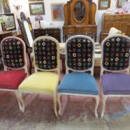 SALE! Vintage mid-century modern faux bois set 4 Italian dining chairs – $495/set