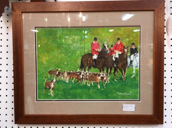 Vintage watercolor hunt scene by Richard Feldon – $250