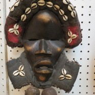 SALE! Vintage antique hand carved wood African Dan mask with shells – $395