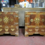 SALE!  Vintage antique pair of Chinese birdseye / mahogany nightstands / side tables – $495/pr