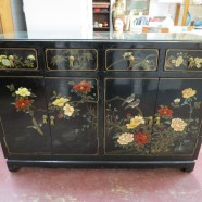 SALE! Vintage antique Chinese hand painted credenza c. 1960 – $335