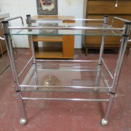 SALE! Vintage mid century modern chrome bar cart c. 1960 – $242