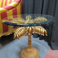 Vintage antique Italian gilt metal palm tree side table c. 1960 – $195