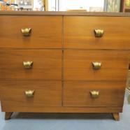 Vintage mid century modern 3 drawer walnut credenza/dresser c. 1960 – $395