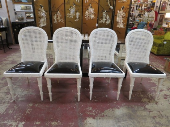 SALE!  Vintage Hollywood Glam 4 white lacquered dining chairs c. 1960 – $495 for the set
